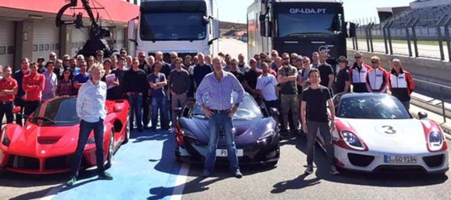 Hammond Clarkson May filming car show Amazon October 2015 MacLaren P1 LaFerrari